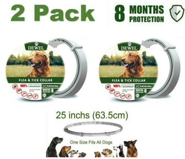 DEWEL Flea & Tick Prevention Collar for Dogs Control 8 Months Waterproof Natural