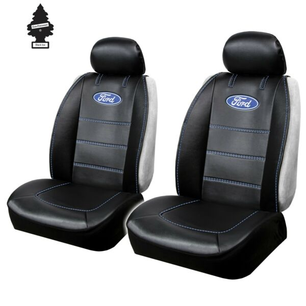 CAR TRUCK SUV SEAT COVERS SET FOR FORD FRONT SIDELESS BLACK UNIVERSAL SIZE PAIR $59.79