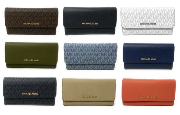 Michael Kors Jet Set Travel Large Trifold Leather PVC Wallet