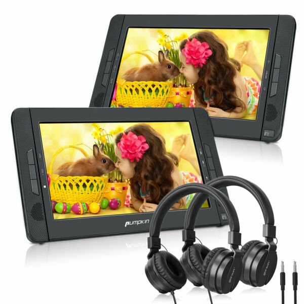 10.1quot; Dual Screen Car Portable DVD Player Battery USB SD MMC AV IN OUTHeadsets $138.88