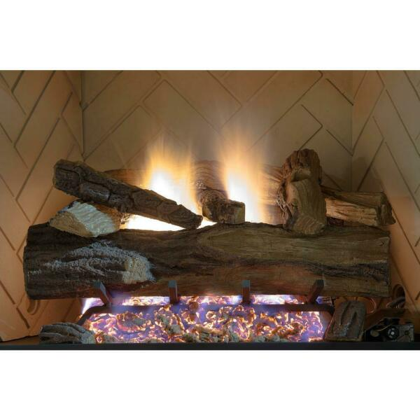 Appalachian Oak Vented Natural Gas Fireplace Log Set With Remote Emberglow 24 in