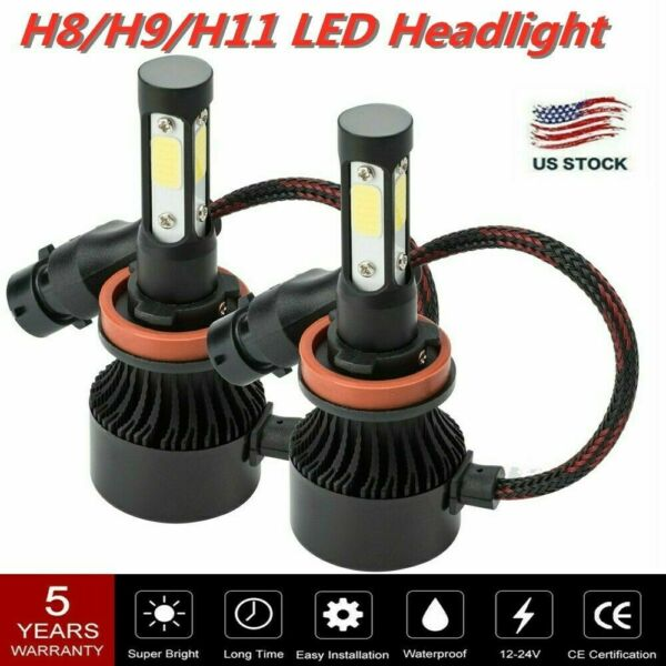 2x H8H9H11 LED Headlight 4-Side 6000K 2000W 300000LM Low Beam LAMPS High Power