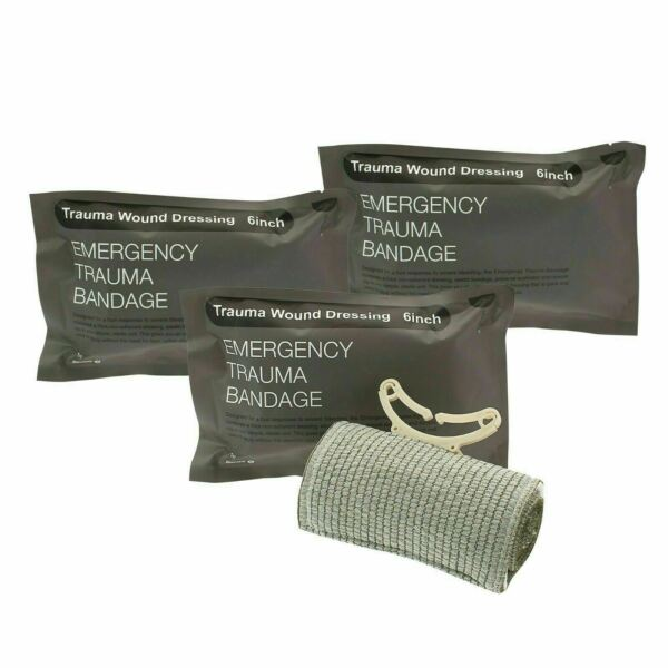 3pcs 6quot; Trauma Bandage Emergency Israeli Style Battle Wound Dressing First Aid