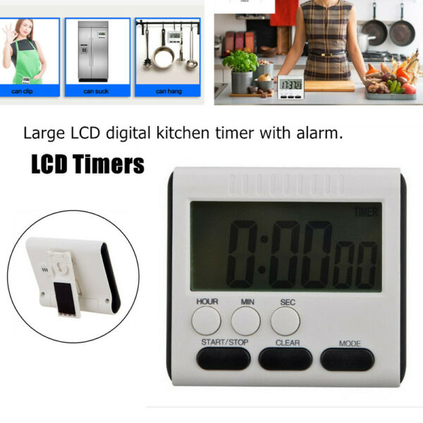 Digital Kitchen Timer Magnetic Back and Retractable Stand Minute Second Count Up $8.79