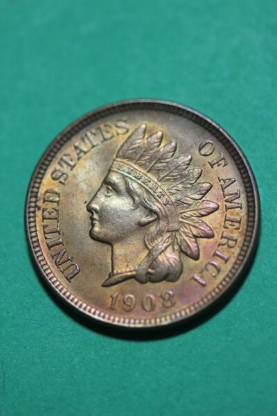 Unc Details 1908 Indian Head Cent Penny Snow 24 Flat Rate Shipping OCE952
