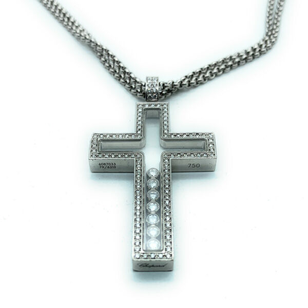 CHOPARD 18K White Gold Double Strand Happy Diamond Cross Pendant Necklace