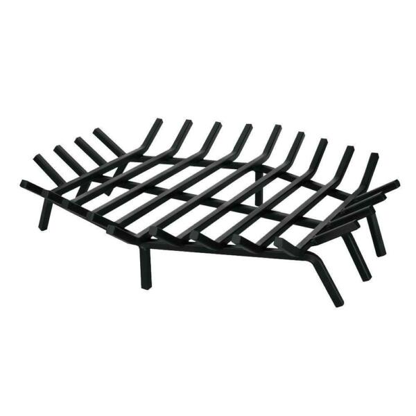 UniFlame Bar Fireplace Grate Cast Iron Hexagon Shape Black 27 in. W x 27 in. D