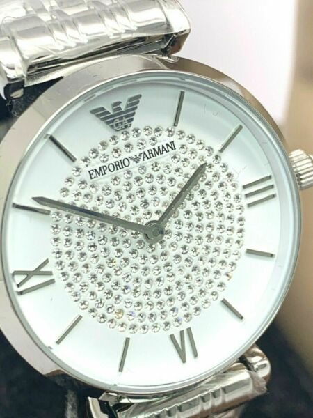 Emporio Armani Womens Watch Classic White Silver Pave Stainless Steel AR1925