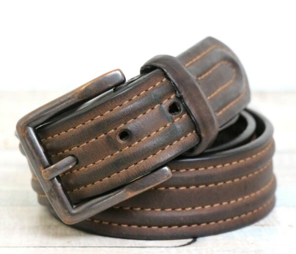 VINTAGE COLUMBIA STITCHED BROWN GENUINE LEATHER CASUAL MEN'S BELT 3485 (R28