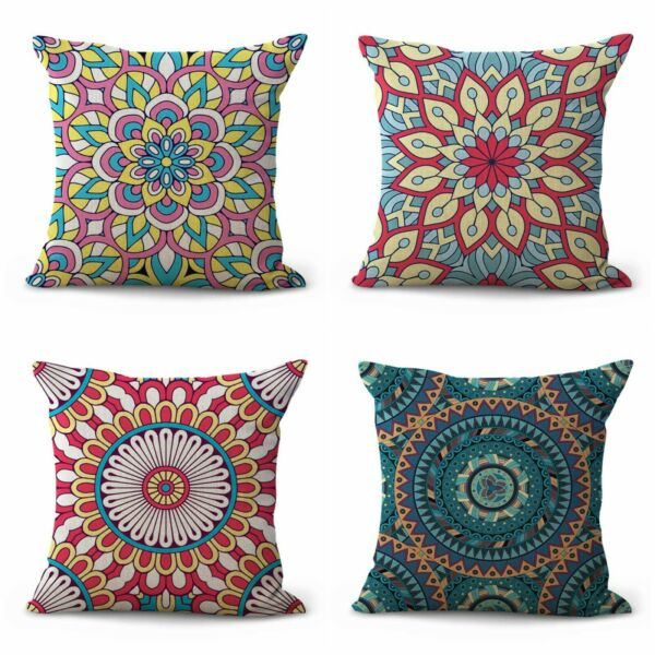 set of 4 patio slipcovers for boho chic mandala cushion covers $28.99
