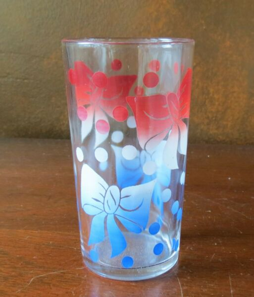 """Federal Red White Blue Bows amp; Dots 4 ¾"""" Flat Tumbler s"""