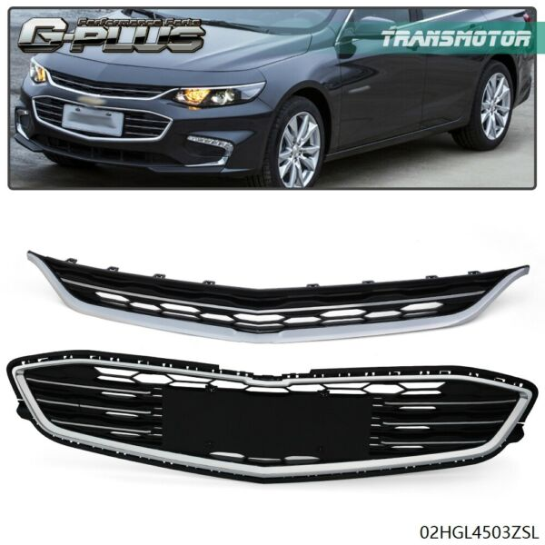 For Chevy Malibu 2016 2018 Honeycomb Mesh Grill Front Bumper Upperamp;Lower Grille