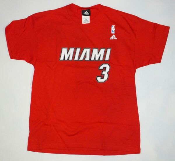NBA Miami Heat #3 Dwyane Wade YOUTH size Red Color adidas T shirt $10.99