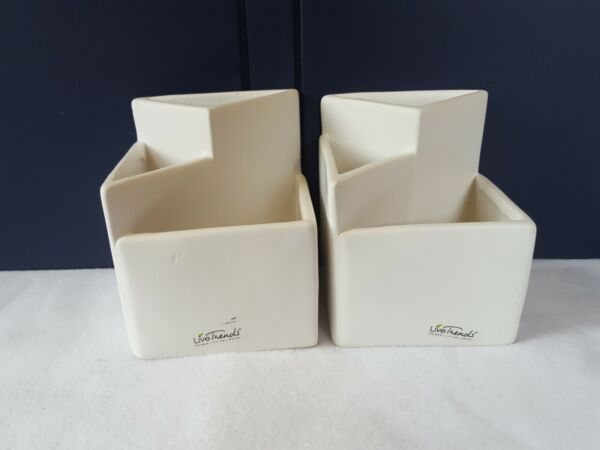 TWO 2 White Clay Pottery Triangular Pen Pencil Holders organizers utensils