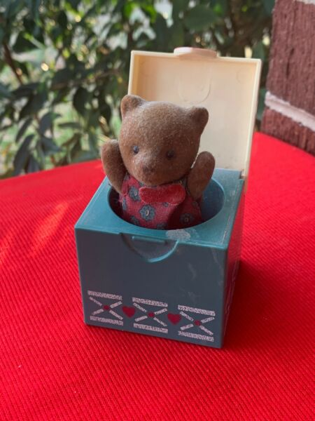 Vintage Jack In The Box Miniature Red Heart TEDDY BEAR Trinket Box UNIQUE ❤️sj8j