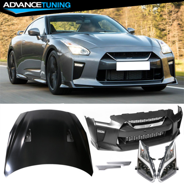 Fits 09-18 Nissan R35 GTR GT-R OE Front Bumper & Hood Cover & LED Headlights