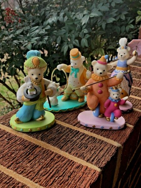 Vintage A CIRCUS ACT Teddy Bear Poodle Jump Rabbit Magic Hat SET 4 Avon ❤️sj8j