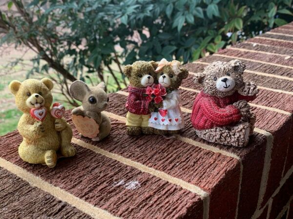 Vintage Zondervan Teddy Bear I LoVE YOU Mouse Sweet Heart Couple Lot of 4 ❤️sj8j