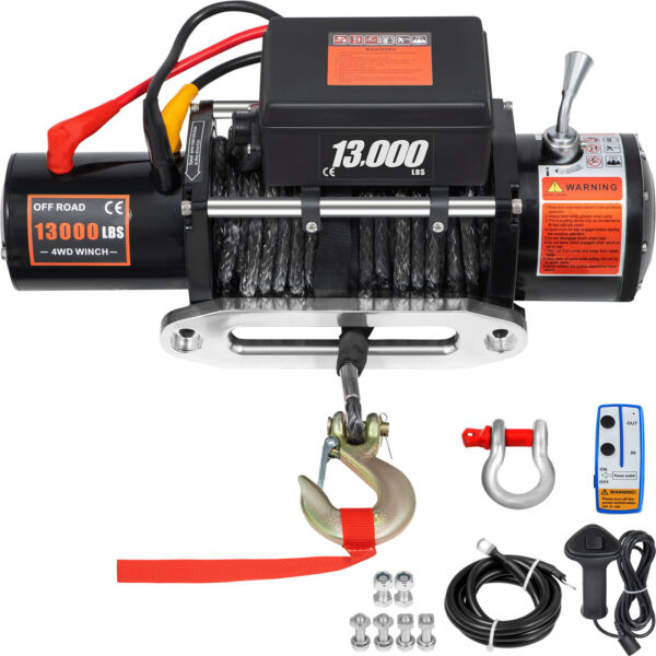13000LBS Electric Winch12V Synthetic Rope Off road ATV UTV Truck Towing Trailer $271.92