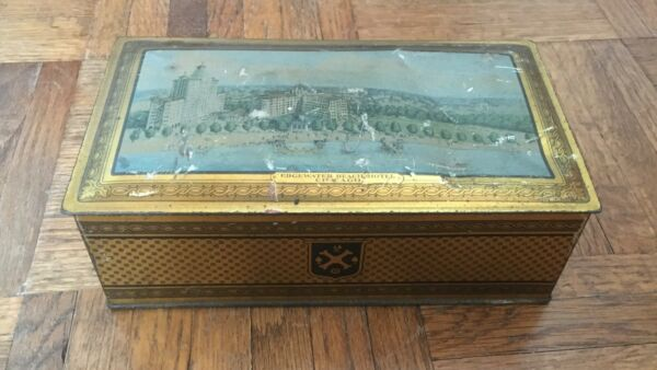 Vintage Canco Edgewater Beach Hotel Chicago metal hinged box decorative candy