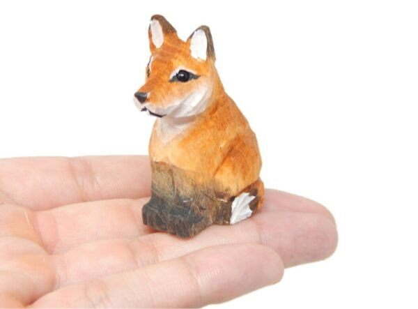 Red Fox Small 2quot; Wood Art Figurine Handmade Unique Carving Miniature Animal