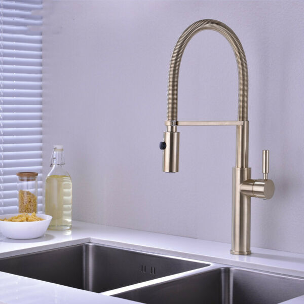 New Brushed Gold Kitchen Faucet Pull Out Brass Swivel Mixer Tap Single Handle