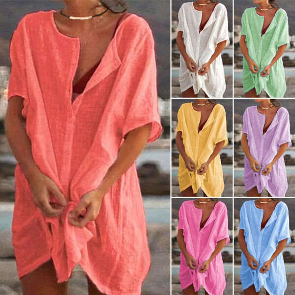 Women V Neck Cotton Linen Asymmetrical Loose Tunic Top T Shirt Blouse Mini Dress $18.89