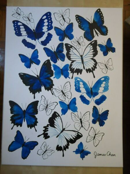 BLUE BUTTERFLIES # 2 HUGE 30'' X 40'' PAINTING ON CANVAS BY JAMES CHEN