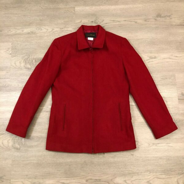 Harris  Wallace Womens Red Wool Blend Full Zip Collared Jacket Size 6