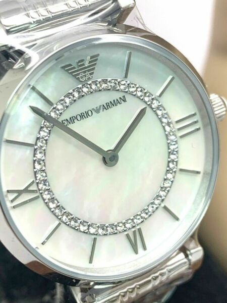 Emporio Armani Womens Watch White MOP Dial Silver Pave Stainless Steel AR1908