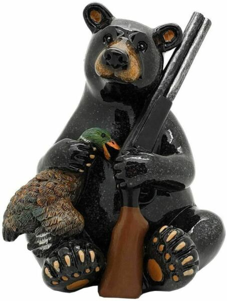 Animal World Black Bear Hunter Waterfowl Hunting Figurine 5quot;H Home Decor