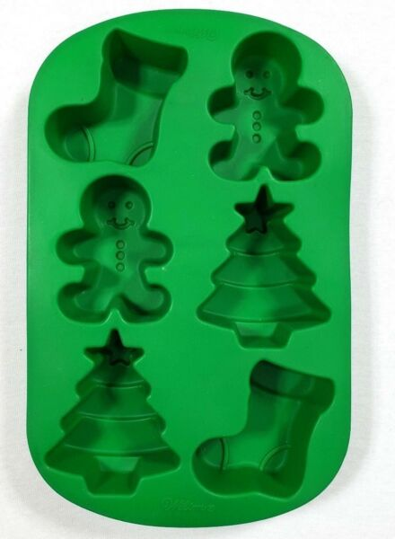 Wilton Christmas Silicone Mold Christmas Tree Gingerbread Man Stocking 6 Cavity