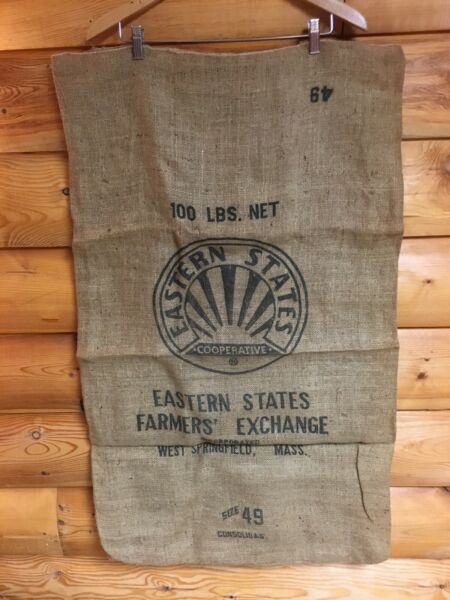 Vintage EASTERN STATES COOPERATIVE Feed Burlap Bag 100 lbs rustic Farmhouse