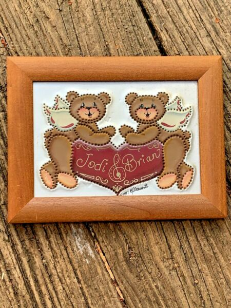 Vintage TEDDY BEAR Punched Tin Heart Jodi Brian Bears Framed Art 6.58.5 ❤️sj8j