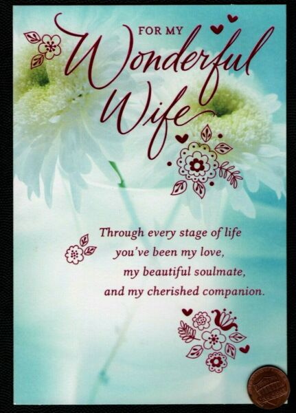 ANNIVERSARY For Wonderful Wife White Flowers Religious Anniversary Greeting Card