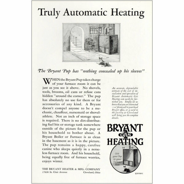 1929 Bryant Gas Heating: Truly Automatic Vintage Print Ad $6.50