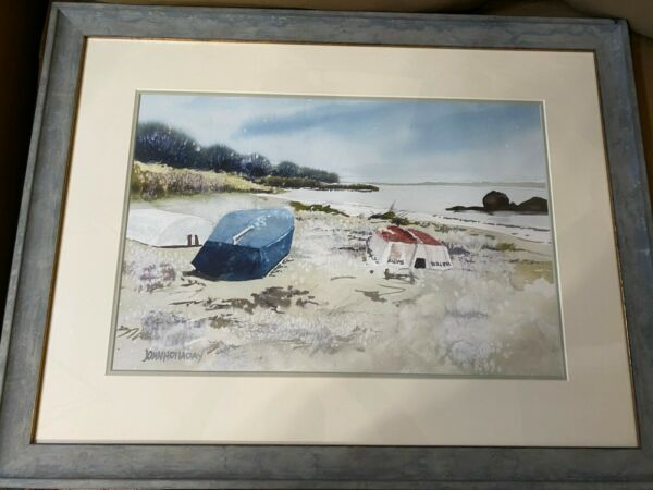 John Holladay quot;Boats And Beach Landscape Scenequot; Watercolor Painting Framed