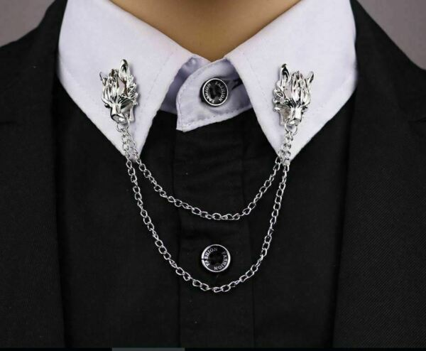 Stunning Silver Plated Vintage Look Wolf Collar Chain Christmas Brooch Pin B13 GBP 11.99