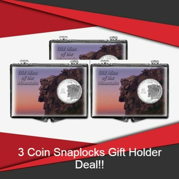 Coin Snaplocks Holder New Hampshire Mountain For Quarter Storage Deal of 3 Gift $9.99