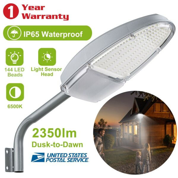 Outdoor Dusk to Dawn Sensor LED Street Light 2350LM Security Waterproof Lighting