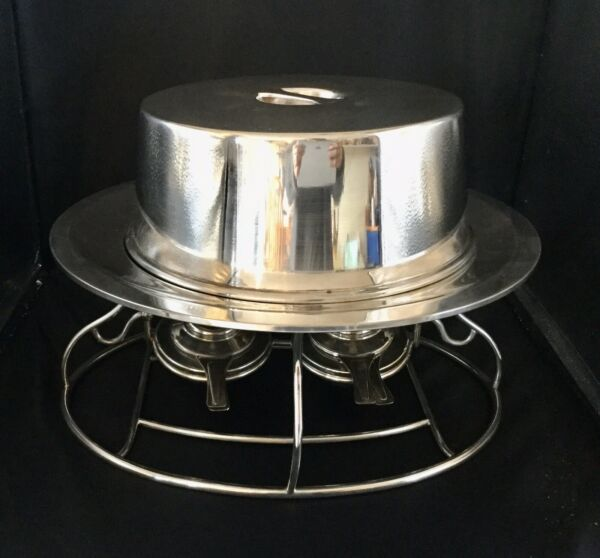 Vtg.1960's Christofle Silver Plate Buffet Chafing Dish Food Warmer