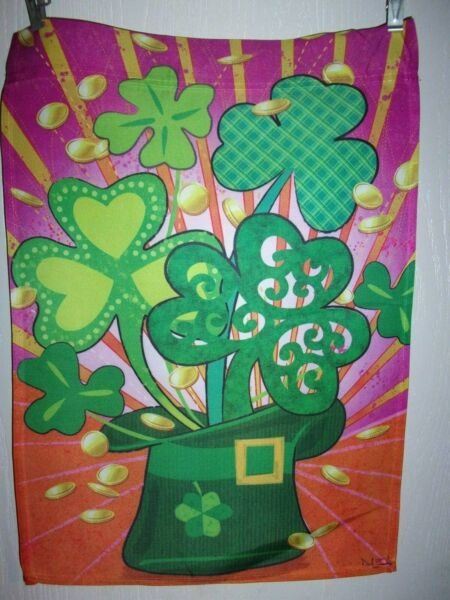 Shamrock Hat St Patricks Day Garden Flag 12quot; X 18quot; Two Sided amp;