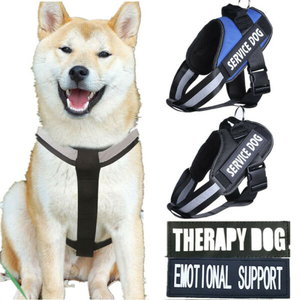 Pet Dog Chest Plate Harness Reflective Vest Removable Patches Emotional Support $12.34
