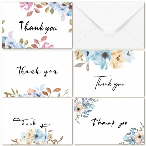 40Pcs Thank You Cards Bulk Set Purple Floral Thank You Notes with Envelopes