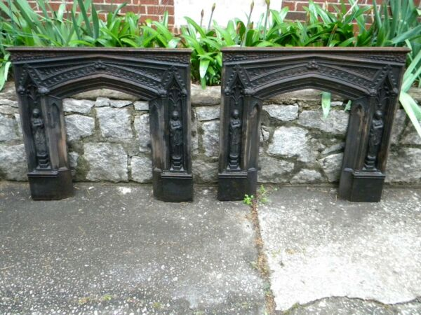 Vintage Cast Iron Gothic Fireplace Surrounds a matching pair.