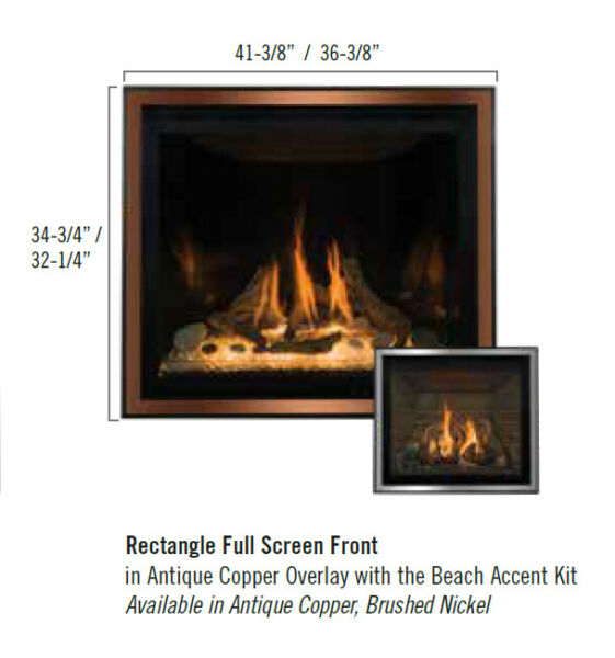 KozyHeat Bayport 36 Full Rectangular Screen front for Fireplace Antique Copper