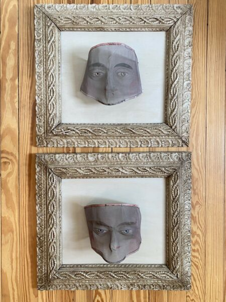 Antique Framed Order of Oddfellas Masks - a Pair