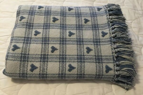 "❤️Vintage 32X61"" Blue White Cotton Hearts Checkers Waffle Throw Blanket Fringed"