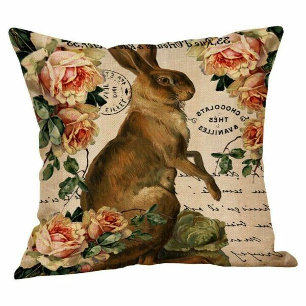 Easter Bunny Pillow Cover Sofa Cushion Cotton Linen Cover Home USA SELLER $12.95
