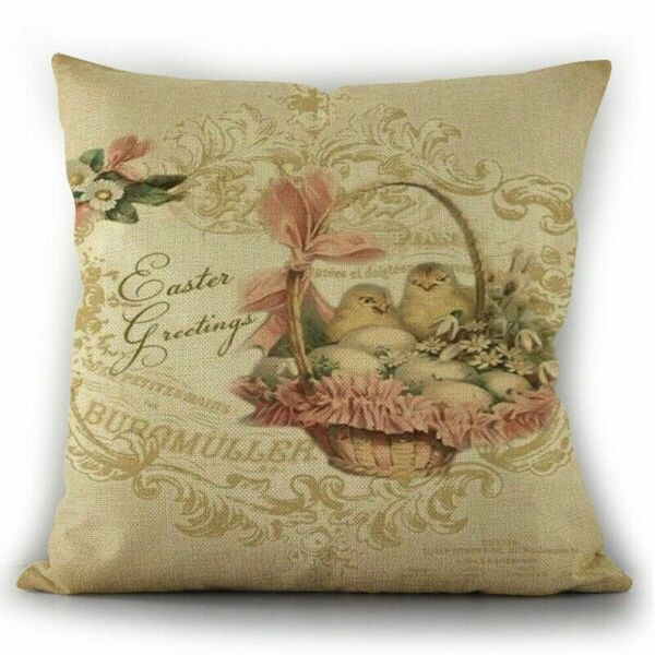Easter Chicks in Basket Pillow Cover Sofa Cushion Cotton Linen Cover USA SELLER $12.95